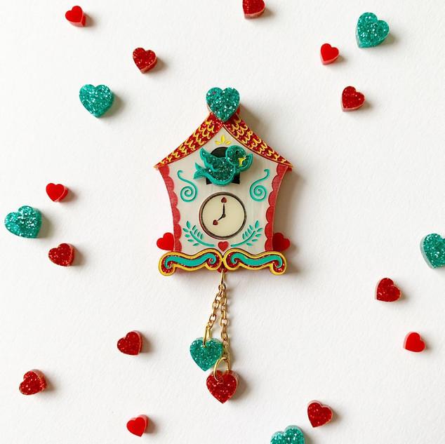 The Lovers Clock Brooch