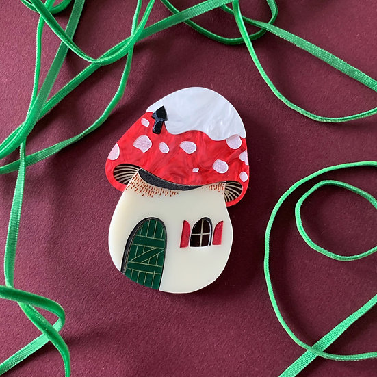 Winter Pixie House Brooch