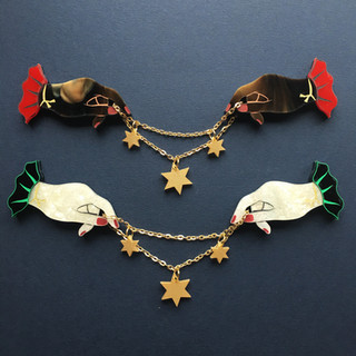 Hands and Stars Collar Clips
