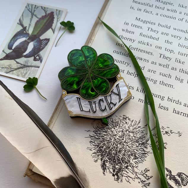 Lucky Four Leaf Clover Brooch