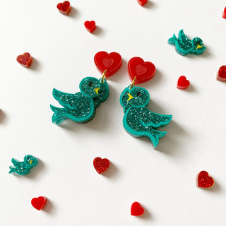 Bluebirds in Love Earrings