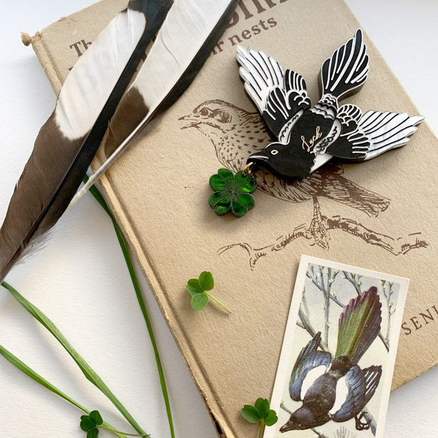 Gina's Good Luck Magpie Brooch