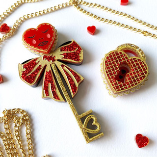 The Key to my Heart Brooch Set