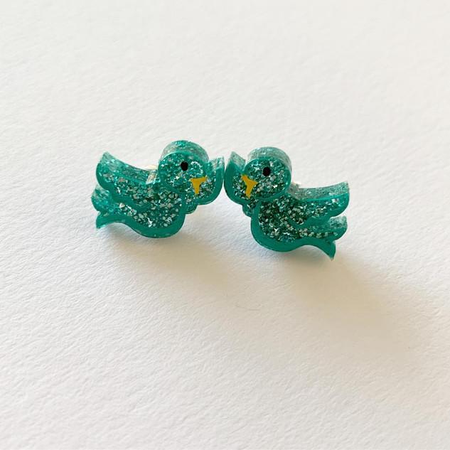 Bluebirds in Love Stud Earrings