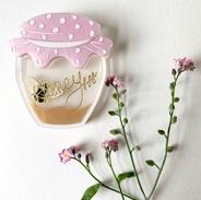 Small Pink Homely Honeypot Brooch