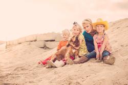 mama met haar dochters in het and