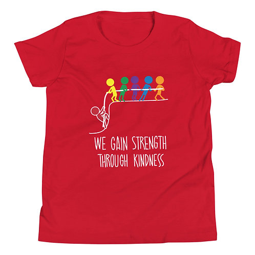 Strength through kindness - Dark coloured YOUTH Short Sleeve T-Shirt