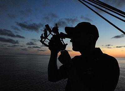 man using a navigational tool