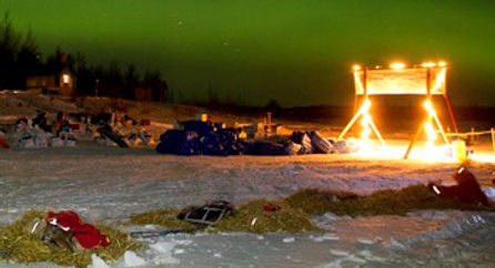 Nighttime at an Iditarod Checkpoint Station