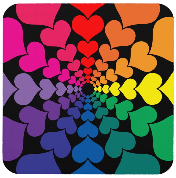 Rainbow Hearts in Circle