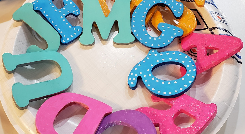colorfully painted wooden alphabet letters