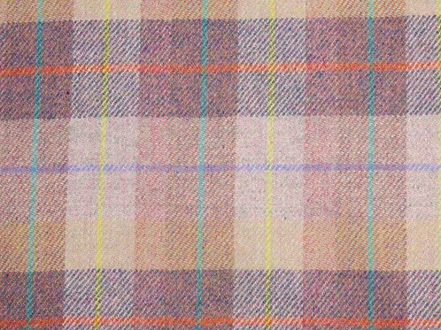 "Original Harris Tweed Meterware ""Dream"" rosa/blau/gelb kariert"