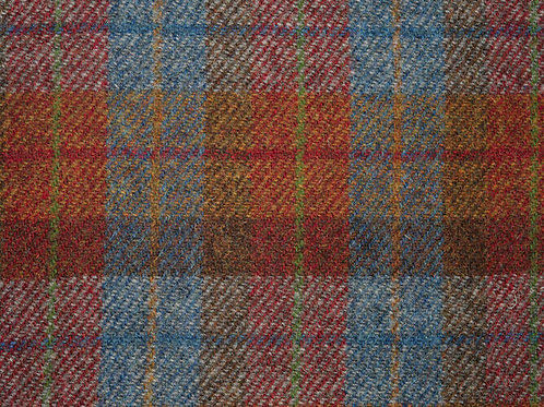 "Original Harris Tweed Meterware ""Angus"" rot/blau/orange kariert"