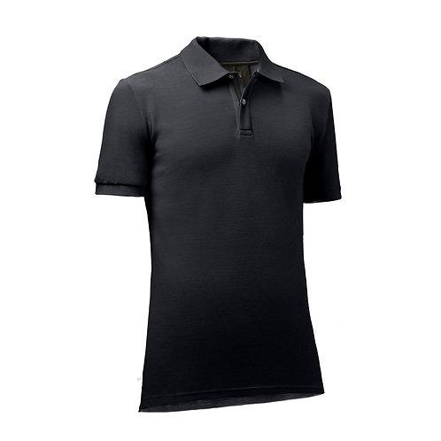 Oro - Merino Piquet Herren Polo Shirt Nero