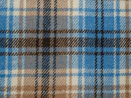 """Original Harris Tweed Meterware """"Leonard"""" warm beige/blau kariert"""