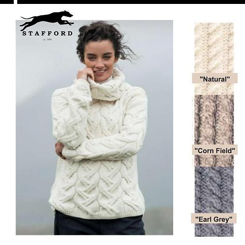 """Stafford Damen Wollpullover oversized Kragen """"Chiara"""" 100% weiche Merinowolle"""