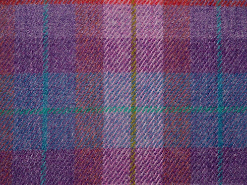 "Original Harris Tweed Meterware ""Soft Pink Check"" pink/violet/grün kariert"