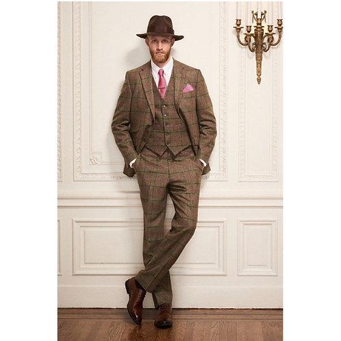 """Herren Tweed Anzug braun/rosa  """"Ronald"""" 3tlg"""