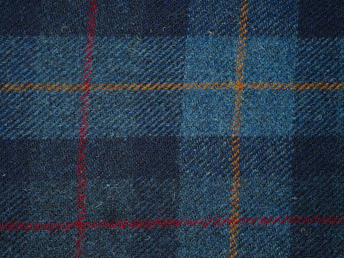 "Original Harris Tweed Meterware ""Coll"" Blau/Rot/Senf kariert"