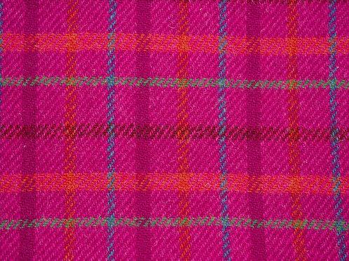 """Original Harris Tweed Meterware """"Pink Art"""" Pink/Rot/Blau kariert"""
