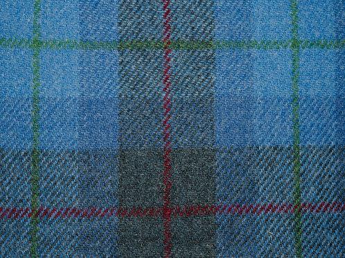 """Original Harris Tweed Meterware """"Highlands View""""  blau/rot kariert"""