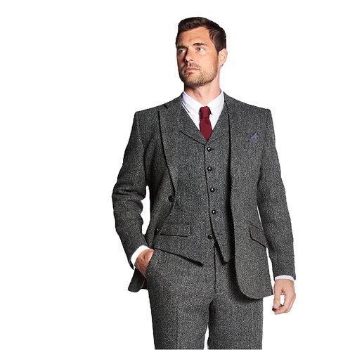 "Herren Harris Tweed Anzug schwarz/weiß Herringbone ""Pete"" 3tlg"