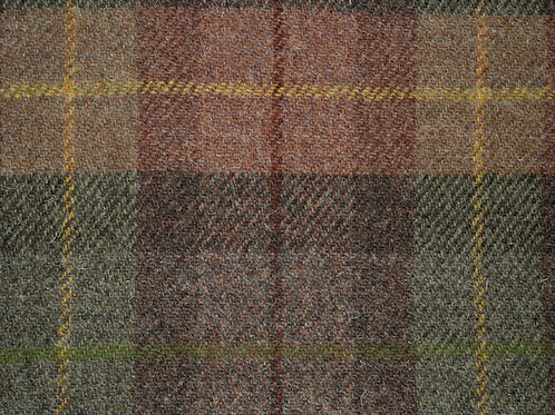 "Original Harris Tweed Meterware ""Warm Staff"" braun/grün/gelb kariert"