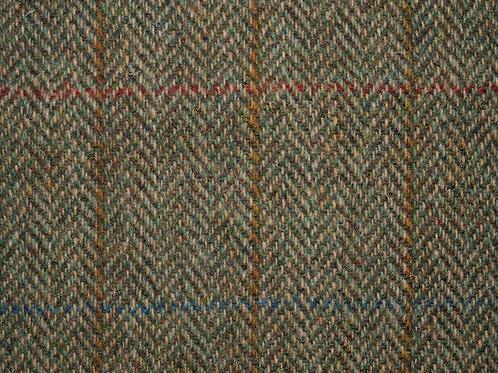 "Original Harris Tweed Meterware ""Scottish Field""  warm / Braun/Grün Herringbone"