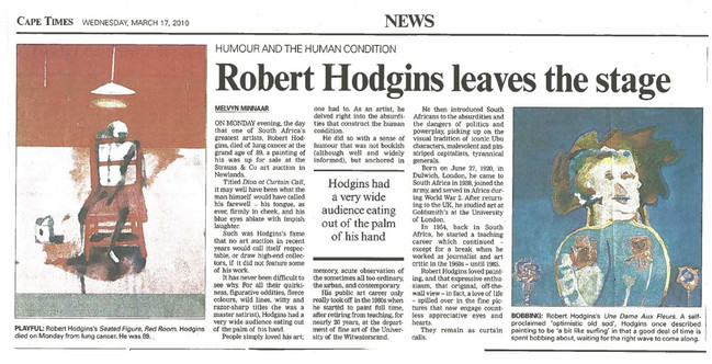 Article in Cape Times upon Hodgins' death