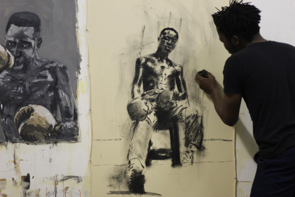 Lindo Zwane in his studio