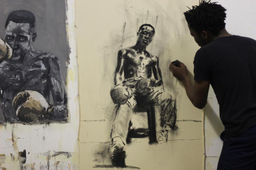 Lindo Zwane in his studio