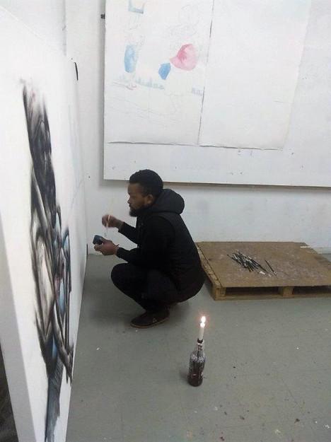 Azael Langa in his studio