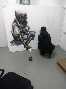 Azael Langa - the creation of smoke paintings