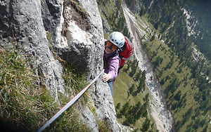 Dr. Frank Cuypers, Actuary at PRS Prime Re Solutions, climing a mountain