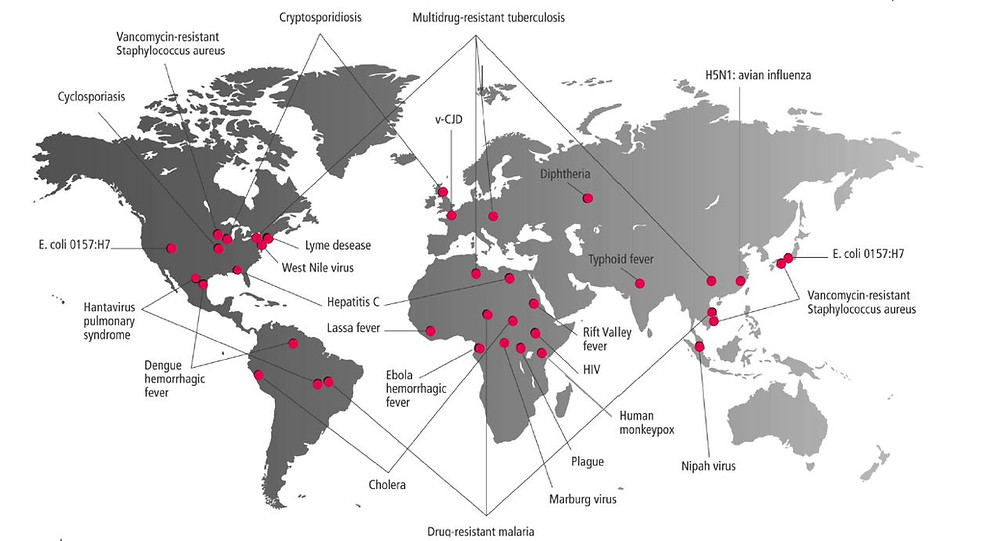 World map showing examples of appearances or re-appearances of infectious diseases in the world. Publication from Prof. Dr. Michel Dacorogna.
