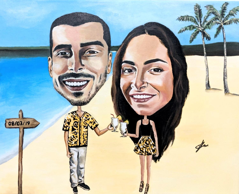 Couple on a beach painting