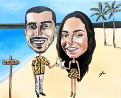 Couple on a beach painting