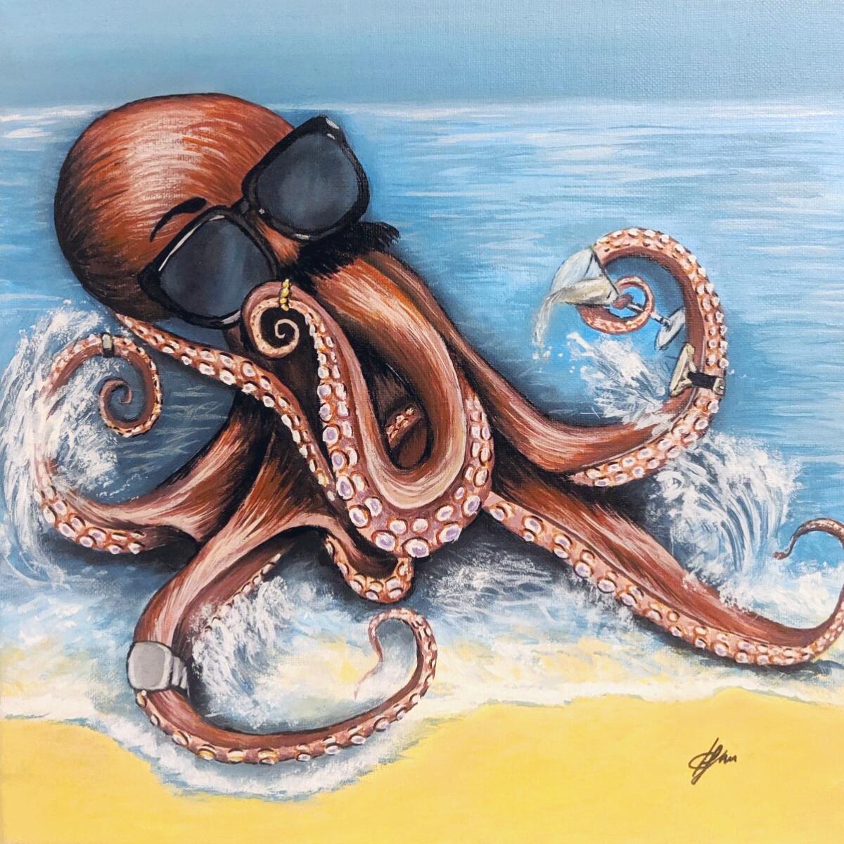 Octopus-on-beach-painting
