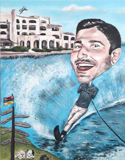 man_on_water_ski_painting