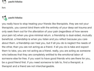 Your Friends Are Not Your Therapist