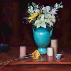 Turquoise Vase with Flowers
