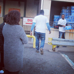 Donating Supplies to Sandy Relief.