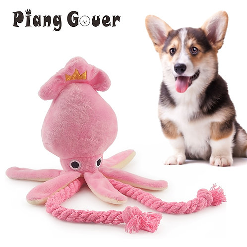 Cute Squid Dog Toy Octopus Cute BB Plush Pet Puppy Rope Toys Pink Chew Squeak