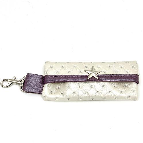 White Glitter Leather Waste Bag Holder