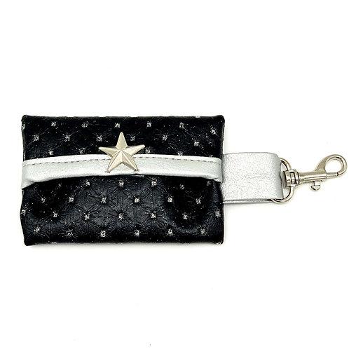 Black Glitter Leather Waste Bag Holder