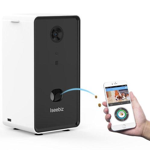 Iseebiz Dog Camera Treat Dispenser w/ WiFi Remote and Two-Way Audio
