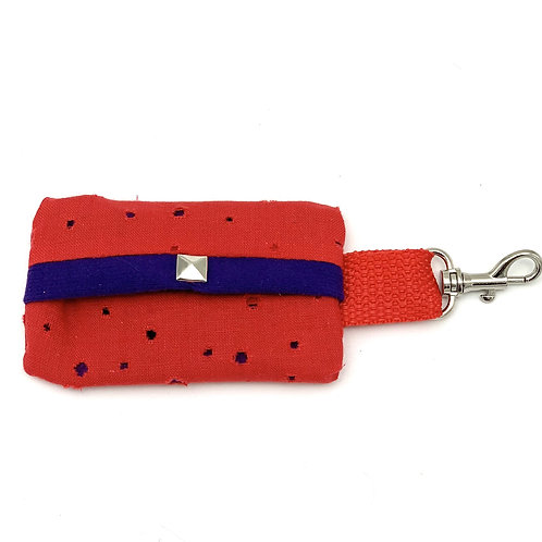 Red Waste Bag Holder With Purple Suede Lining