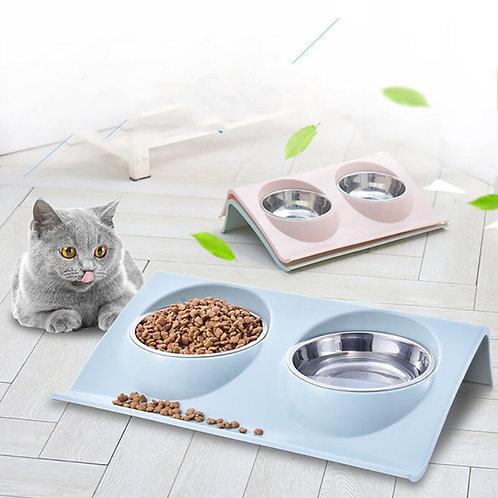 Double Pet Bowl Feeding Station