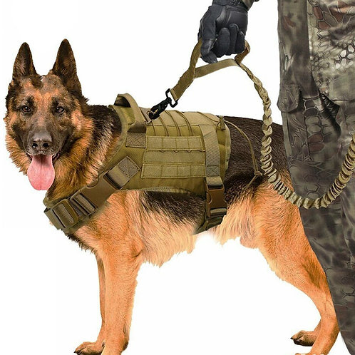Tactical Military Style Dog Vest Harness w/ leash