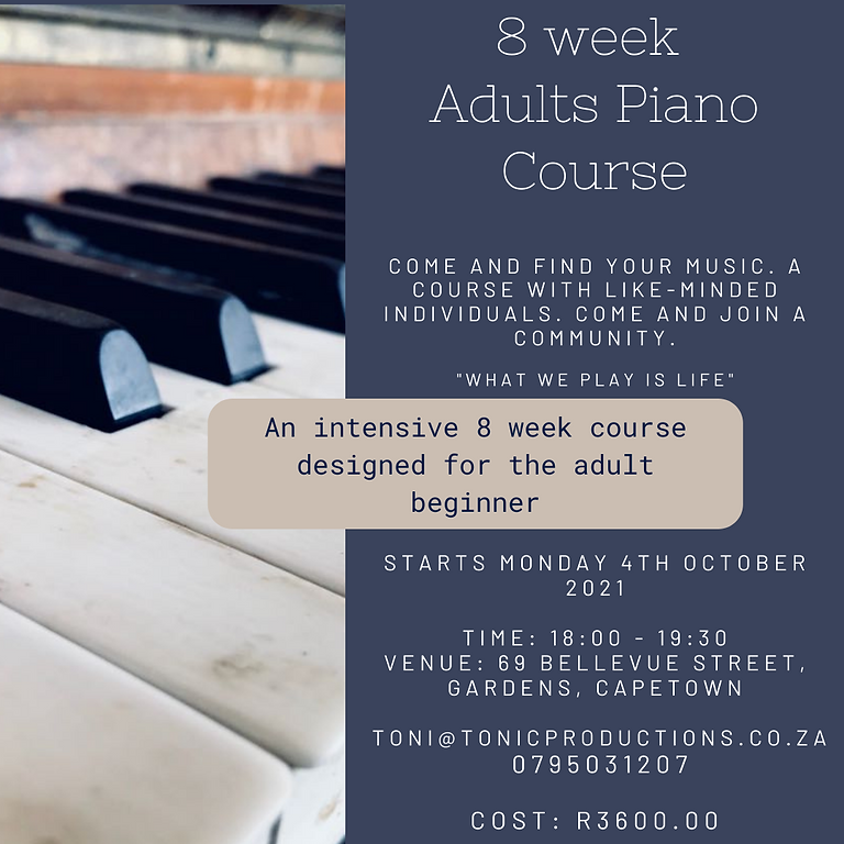 8 week Adults Piano Course